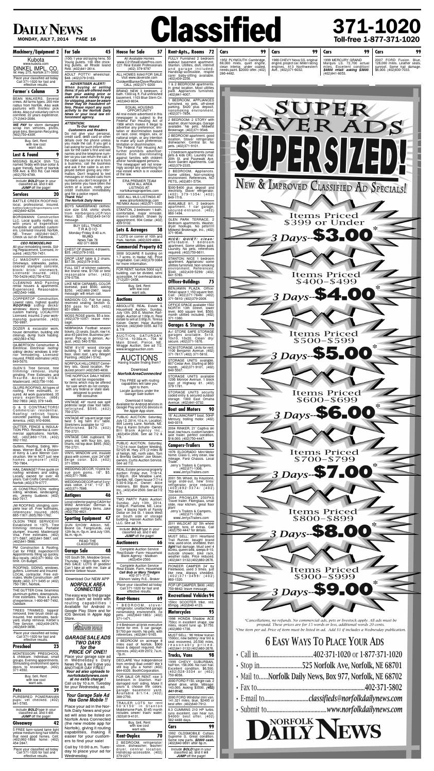 July 7 Classifieds By Norfolk Daily News Issuu