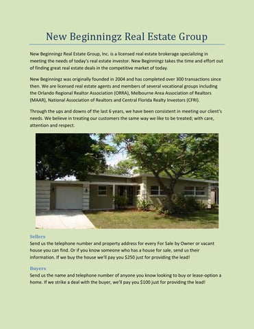 New beginnningz real estate group by sellasisnow - issuu