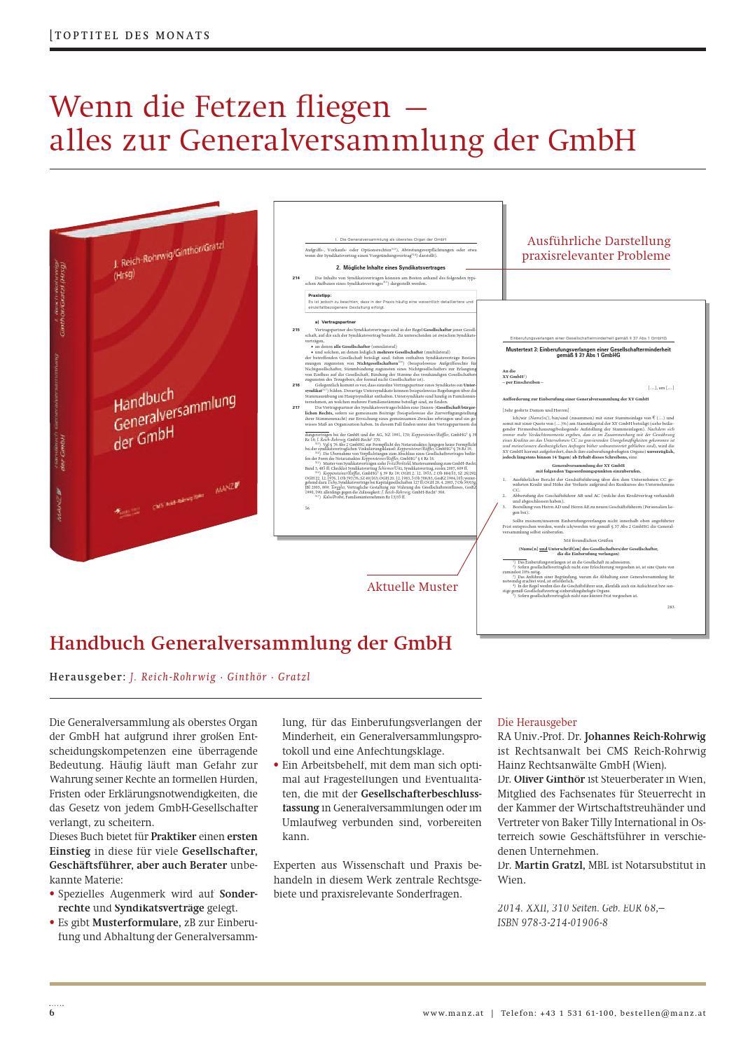 rechtaktuell juliaugust 2014 by manzsche verlags u universittsbuchhandlung gmbh issuu - Abberufung Geschftsfhrer Muster