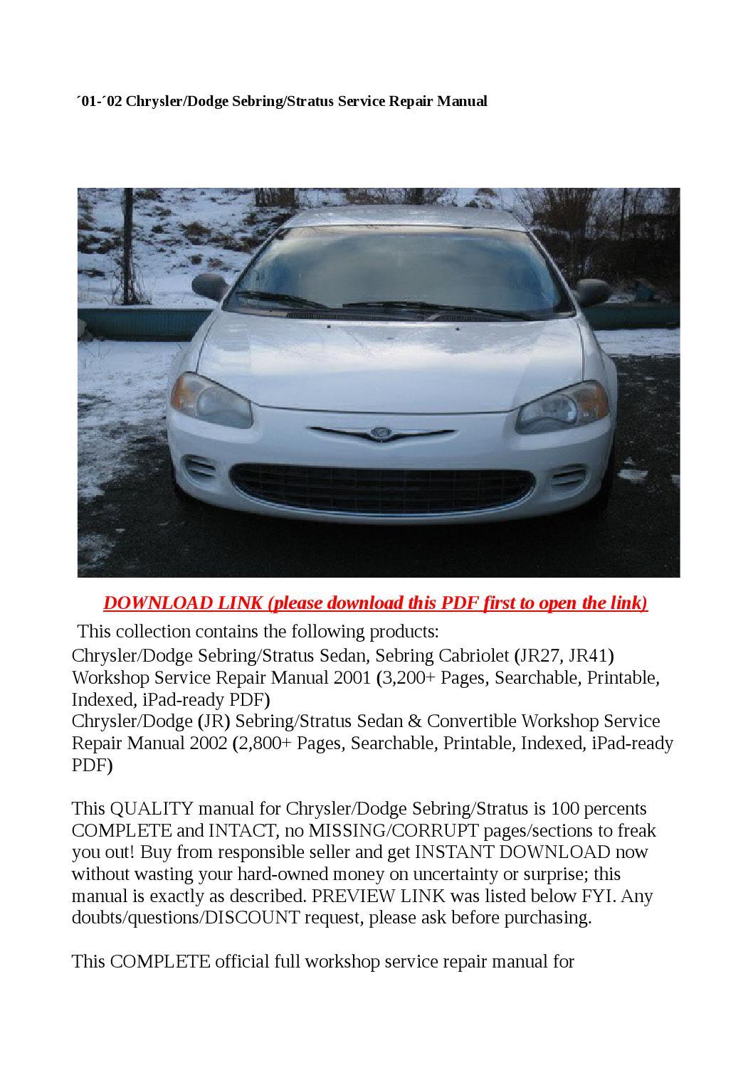 180 01 180 02 Chrysler Dodge Sebring Stratus Service Repair border=