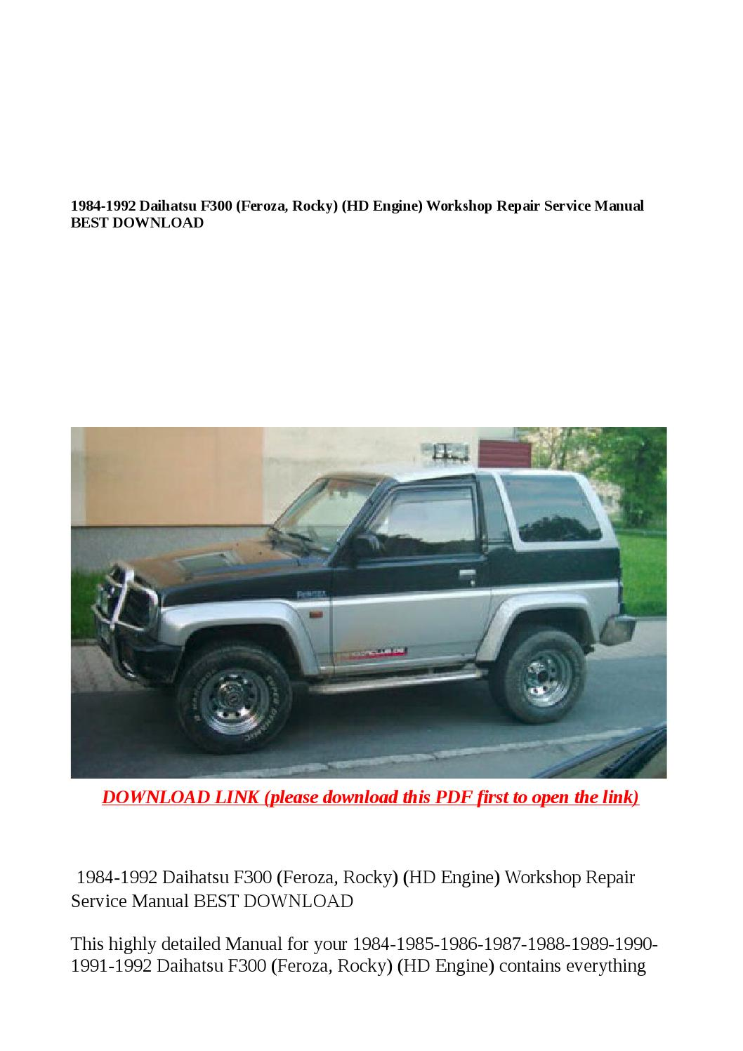 1984 1992 daihatsu f300 (feroza, rocky) (hd engine) workshop repair service  manual best download by Cindy Tinh - issuu
