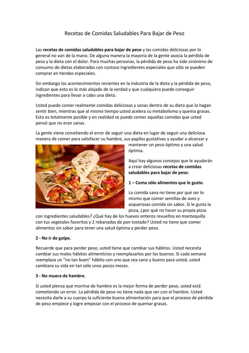 Comidas saludables para bajar de peso recetas con
