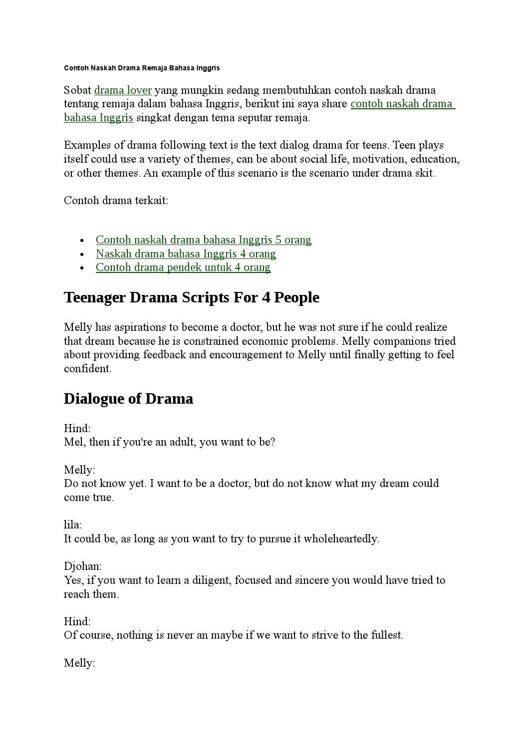 Contoh Naskah Drama Remaja Bahasa Inggris By Lika014 Issuu