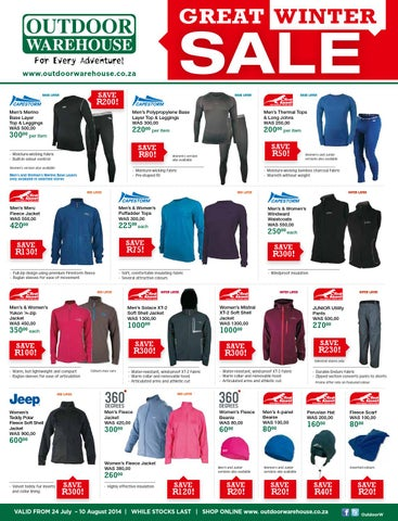 lowest price 90852 7f5d7 Outdoor Warehouse Great Winter Sale - 24 July to 10 August ...