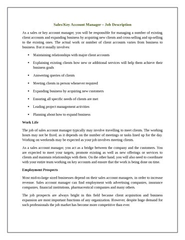 Saleskey Account Manager Job Description By Michael McGraw Issuu
