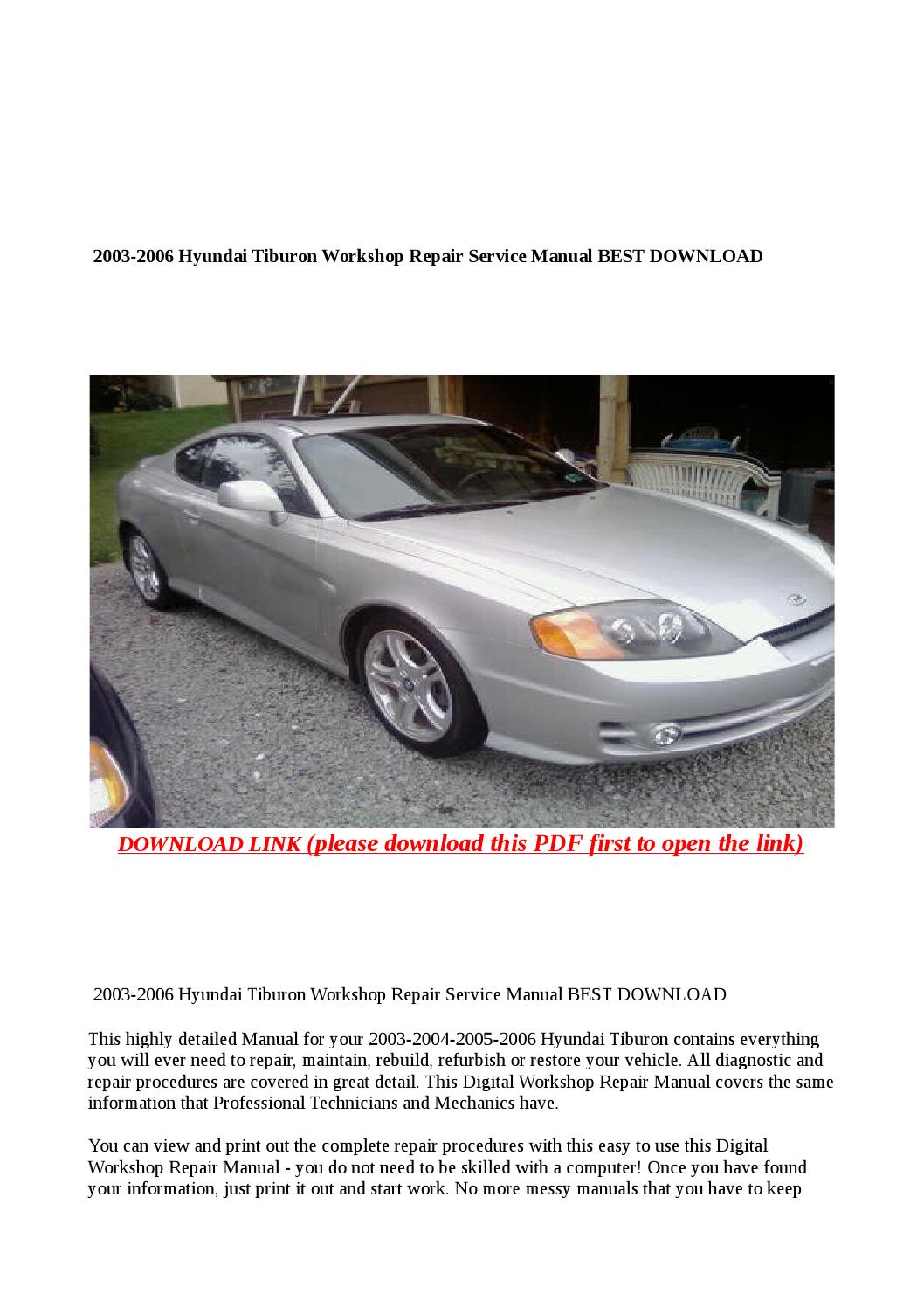 2003 2006 Hyundai Tiburon Workshop Repair Service Manual