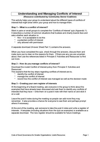 Principle 5 resource 1 conflict of interest quiz by sam brierley understanding and managing conflicts of interest resource contributed by community sector coalition this activity helps your group to understand about the pronofoot35fo Images