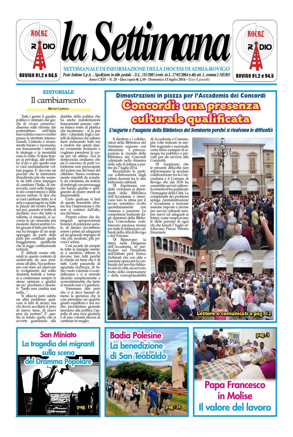 La Settimana n. 28 del 13 luglio 2014 by La Settimana di Adria ... cbc4c0dafeb