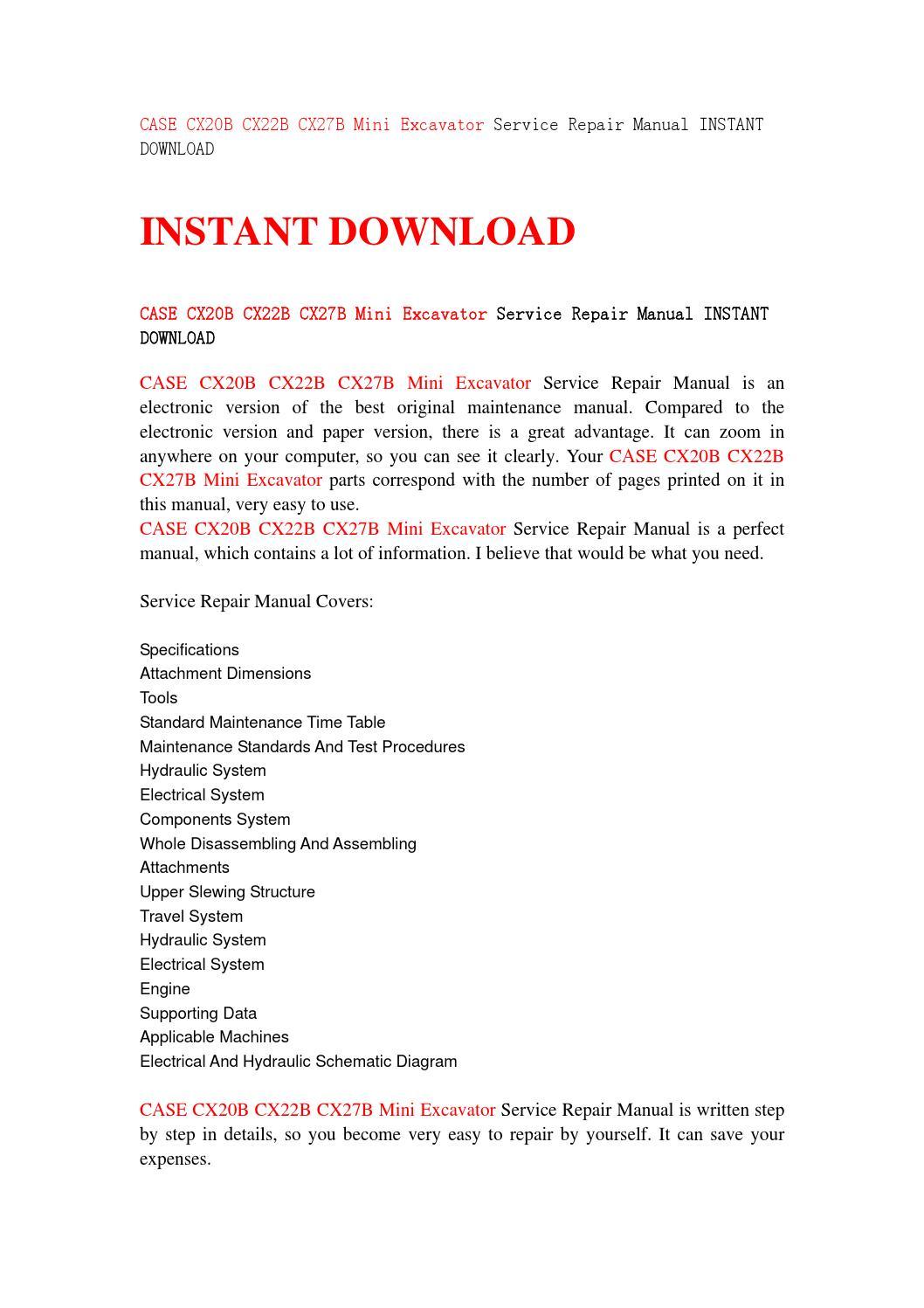 Case Cx20b Cx22b Cx27b Mini Excavator Service Repair Manual Instant Schematic Download By Jshenns Issuu