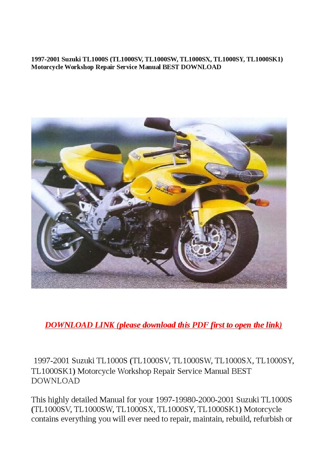 1997 2001 suzuki tl1000s (tl1000sv, tl1000sw, tl1000sx, tl1000sy,  tl1000sk1) motorcycle workshop rep by Dora tang - issuu