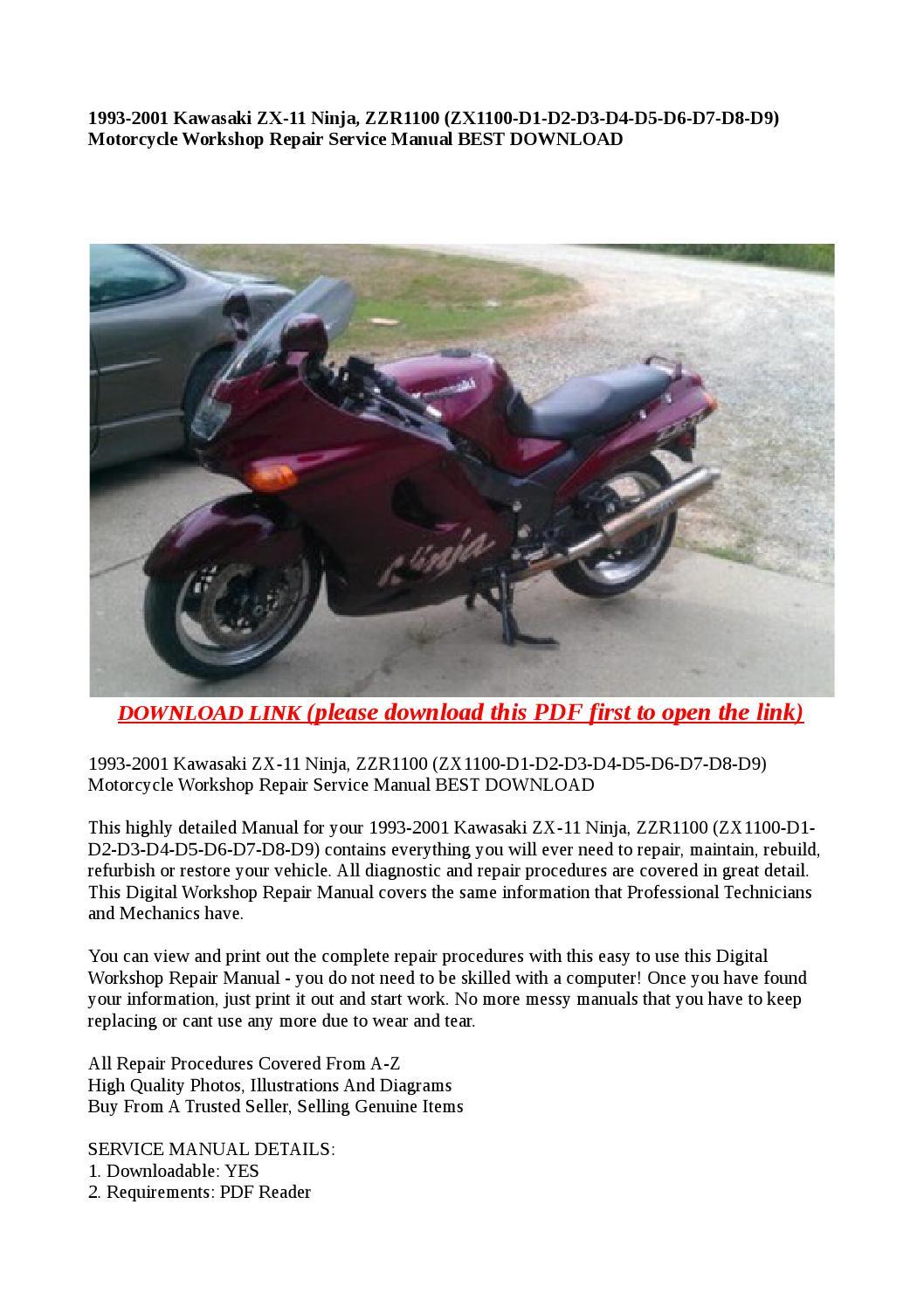 1993 2001 kawasaki zx 11 ninja, zzr1100 (zx1100 d1 d2 d3 d4 d5 d6 d7 d8 d9)  motorcycle workshop repa by Dora tang - issuu