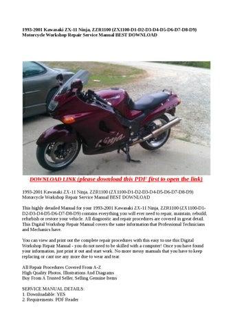 1993 2001 kawasaki zx 11 ninja, zzr1100 (zx1100 d1 d2 d3 d4 d5 d6 d7 d8 d9)  motorcycle workshop repa