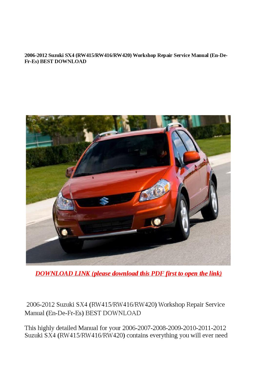 2006 2012 suzuki sx4 (rw415 rw416 rw420) workshop repair service manual (en  de fr es) best download by Dora tang - issuu