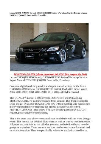 Lexus Gs Repair Manual Pdf - Free Download