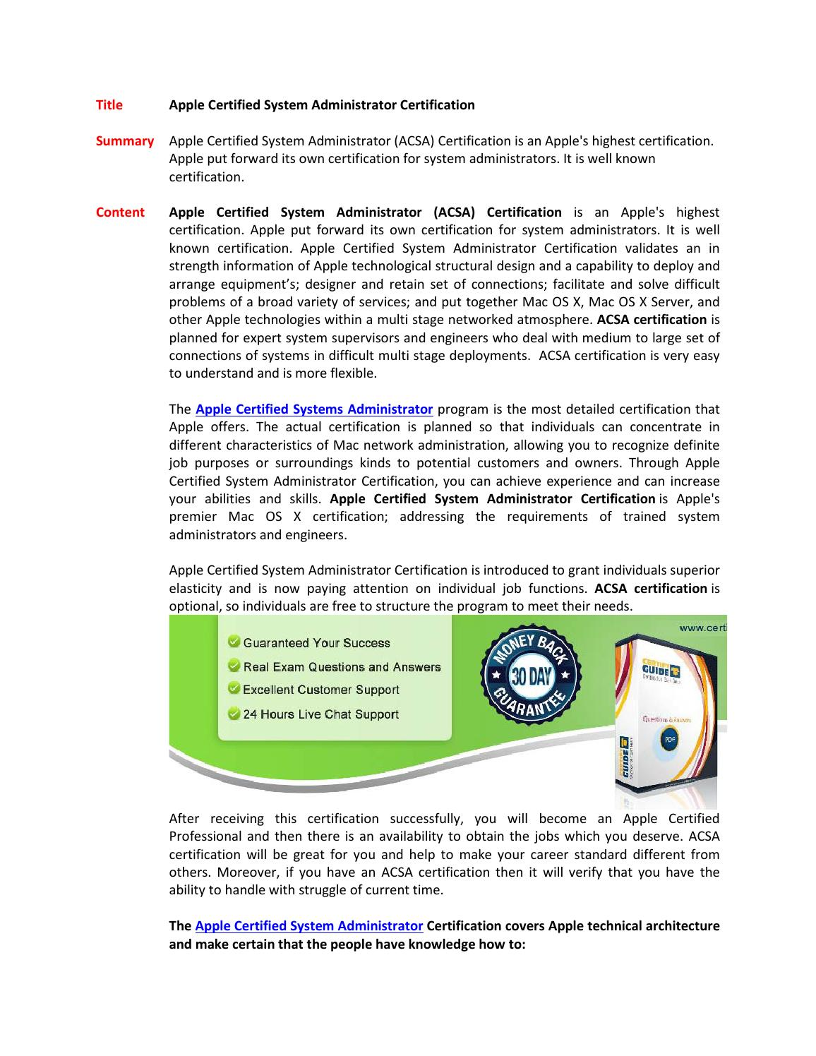 Apple Certified System Administrator Certification By Sfisher854 Issuu