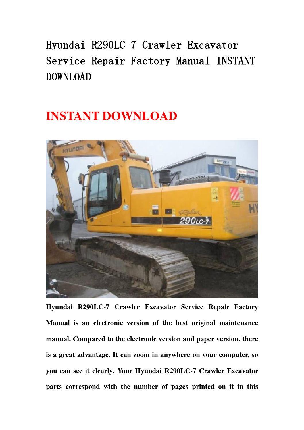 Hyundai R290lc 7 Crawler Excavator Service Repair Factory