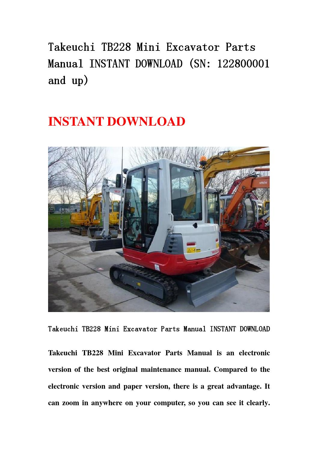 takeuchi tb228 mini excavator parts manual instant. Black Bedroom Furniture Sets. Home Design Ideas