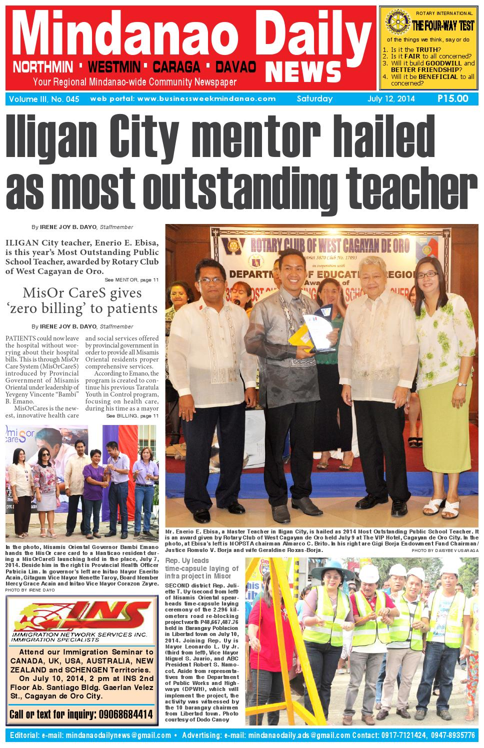 Mindanao Daily News (July 12, 2014) by Mindanao Daily News - issuu