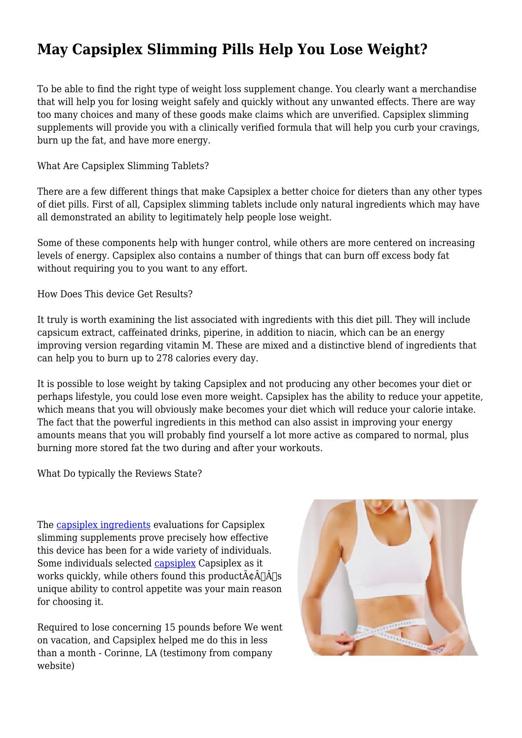 May Capsiplex Slimming Pills Help You Lose Weight By Yellowgun1300