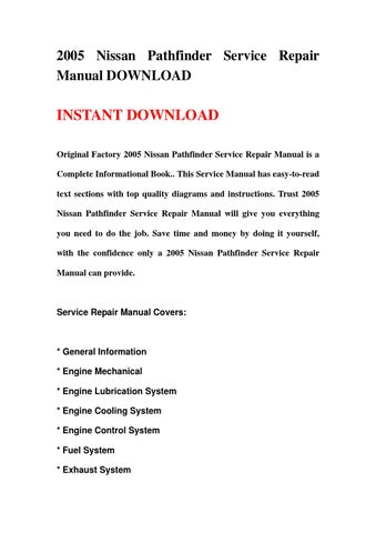 2008 nissan pathfinder factory service manual