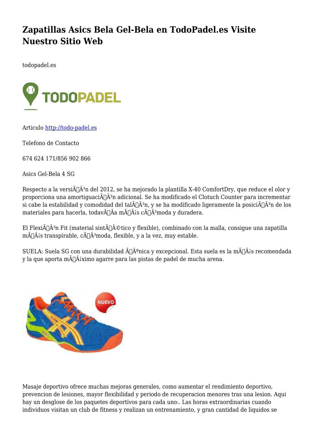disponible Mitad de precio precios grandiosos Zapatillas Asics Bela Gel-Bela en TodoPadel.es Visite Nuestro ...