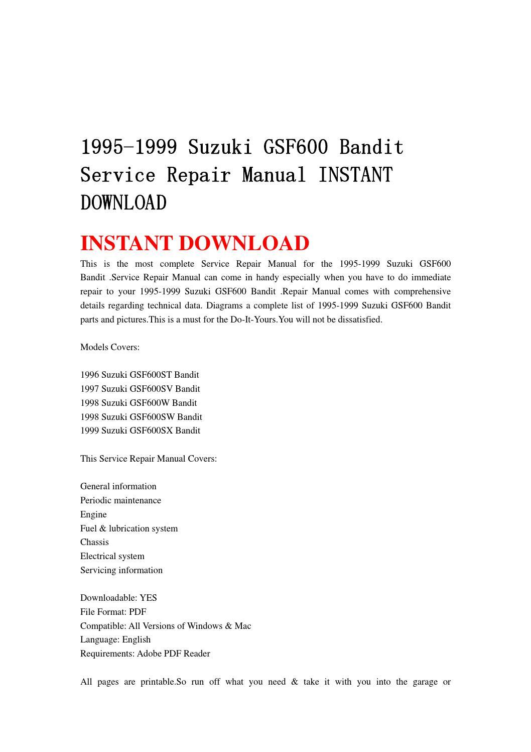 1995 1999 Suzuki Gsf600 Bandit Service Repair Manual