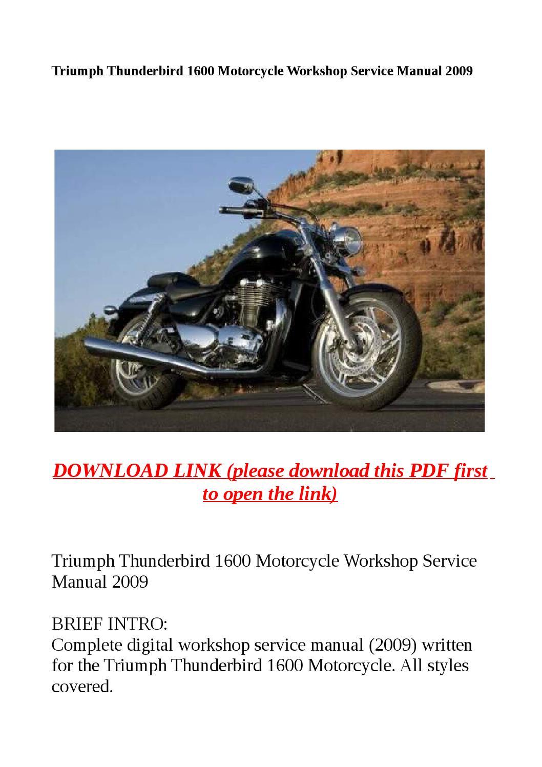 Triumph Thunderbird 1600 Motorcycle Workshop Service