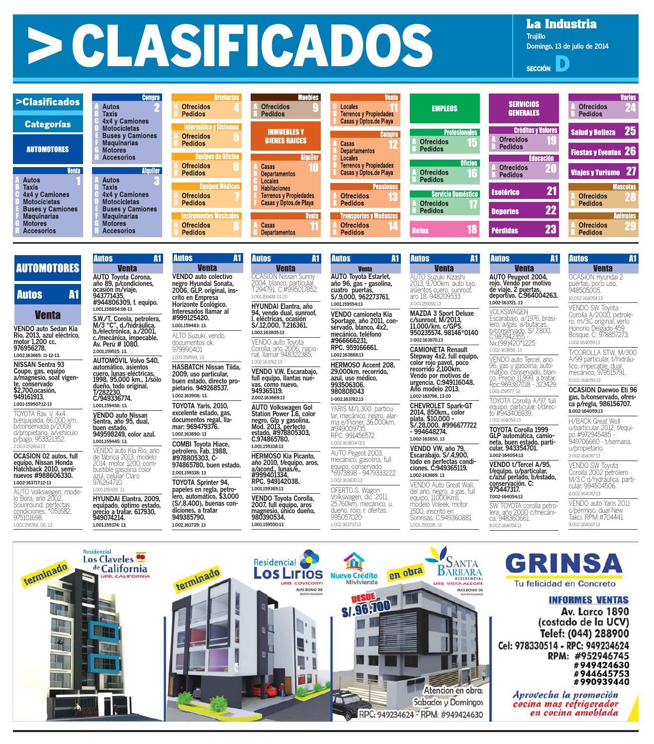 Kia Rio 2019 Azul Electrico: Diario La Industria De Trujillo, Clasificados, 13 De Julio