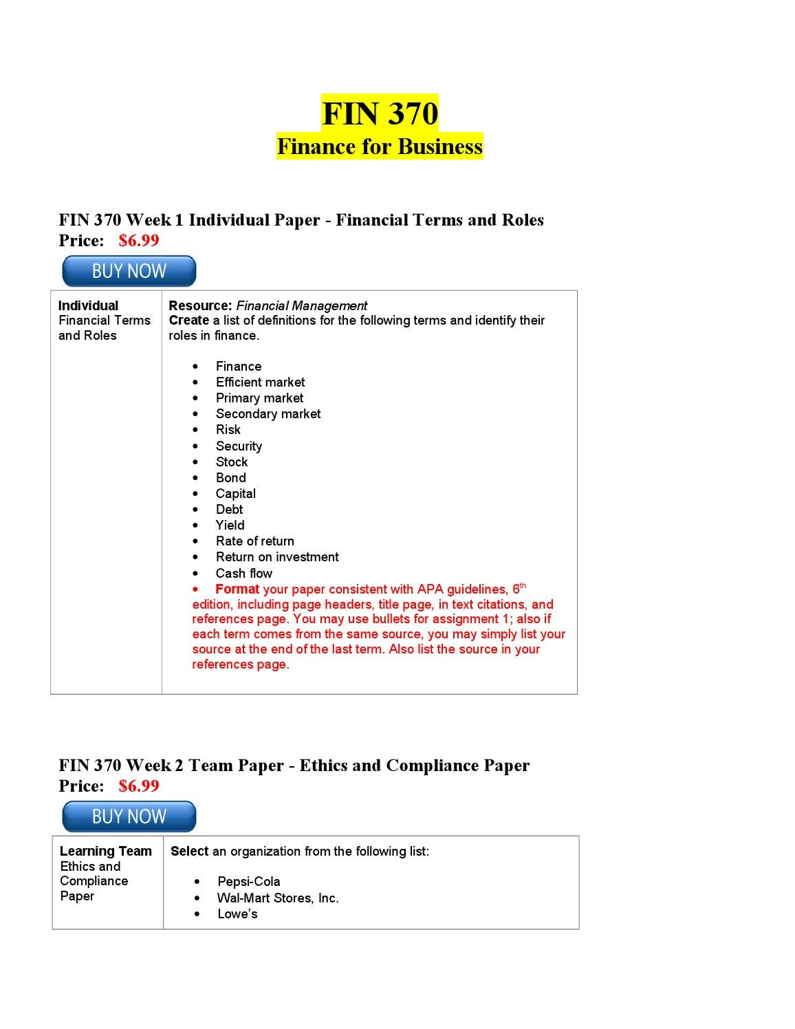 fin 370 wk one create a list of definitions for the following terms and identify their roles in fina 100% satisfaction guarantee description for this study guide: resource:financial management create a list of definitions for the following terms and identify their roles in finance.