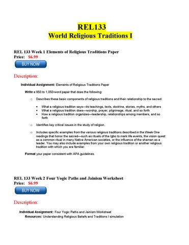REL 133 Week 1 Common Practices in Religion Assignment Options