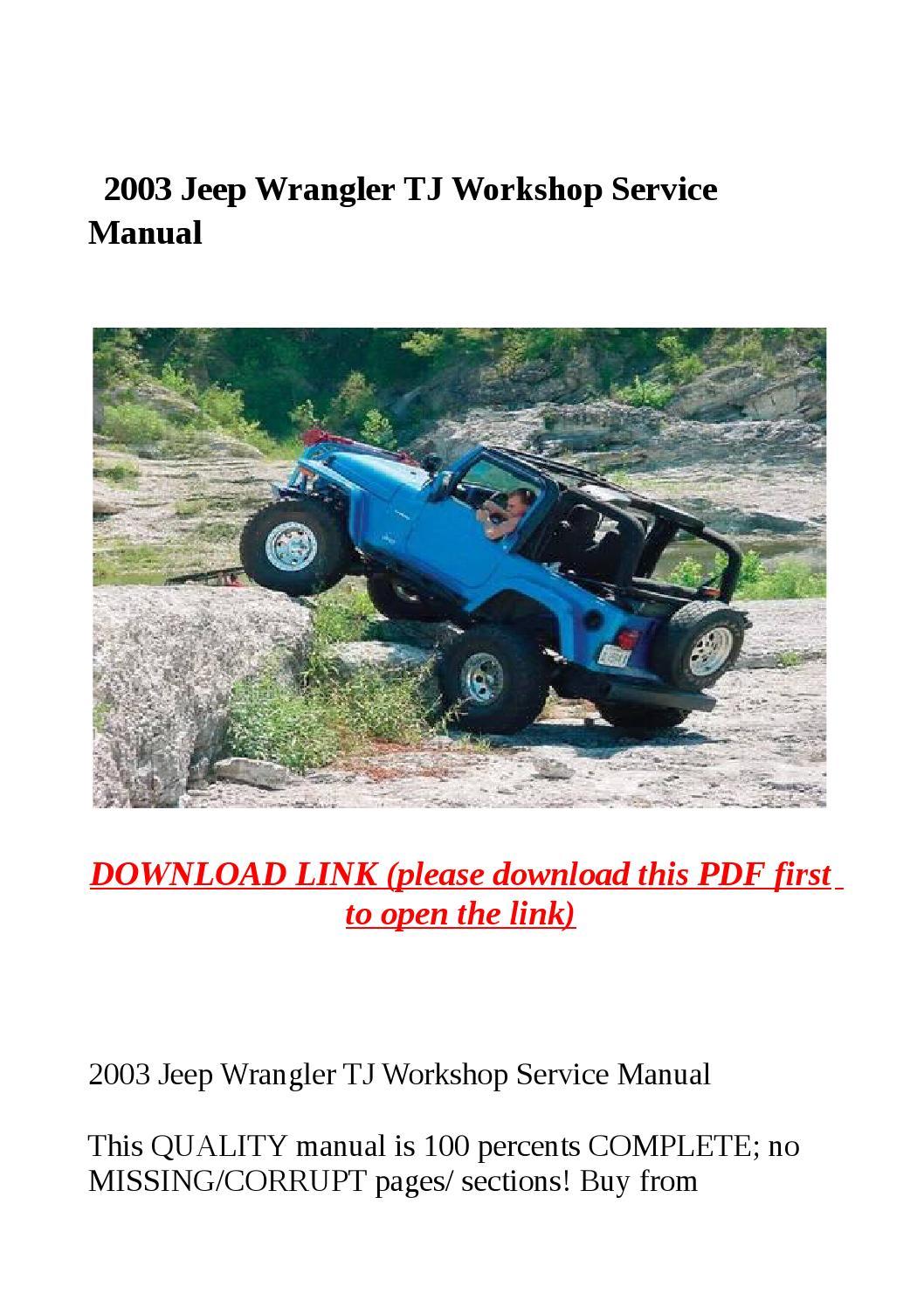 2003 Jeep Wrangler Tj Workshop Service Manual By Dora Tang Issuu