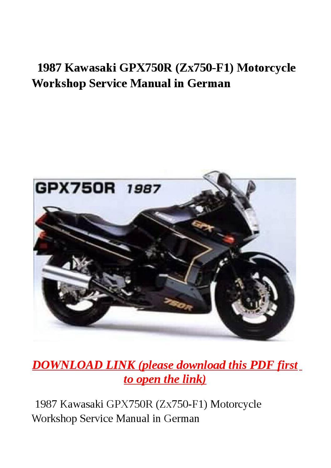 1987 kawasaki gpx750r (zx750 f1) motorcycle workshop service ... on
