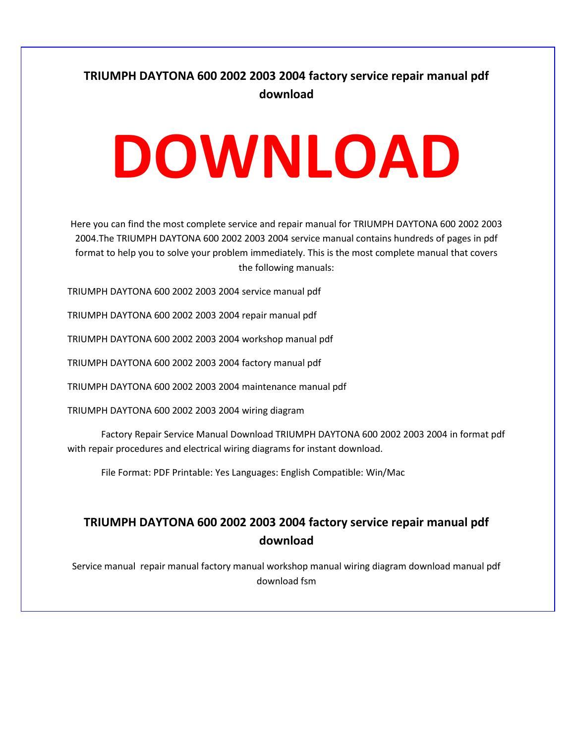 Triumph daytona 600 2002 2003 2004 service repair manual by service manual  - issuu
