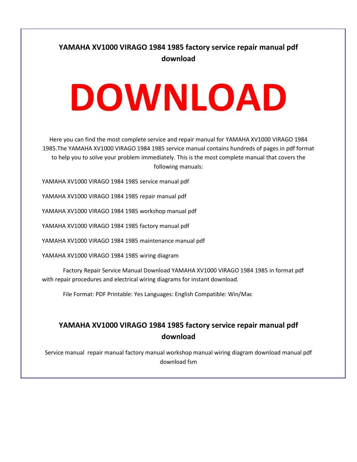 Xv1000 Wiring Diagram | Machine Repair Manual on