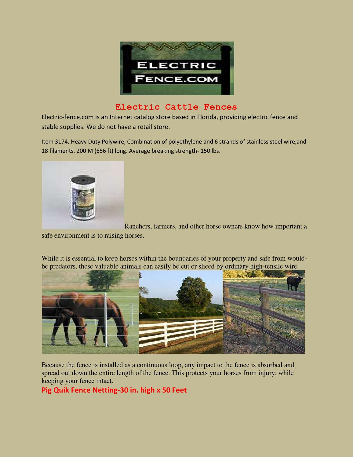 Electric Cattle Fences By Electricfence Issuu Fencing Accessories 7 Strand Fence Wire