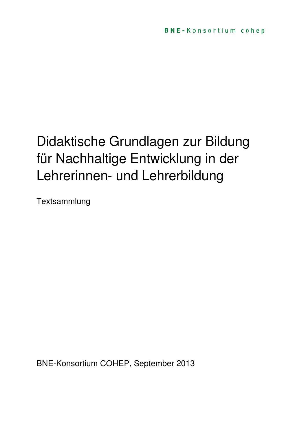 COHEP | Textsammlung der didaktischen Grundlagen BNE by ...