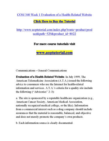 COM 340 Week 1 Evaluation of a Health-Related Website