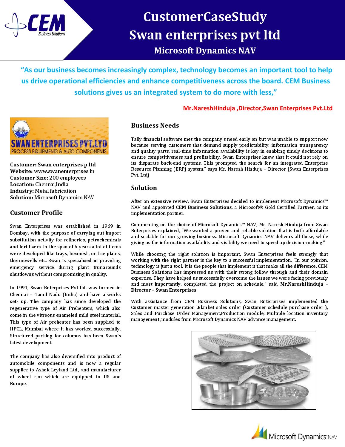 Swan enterprises pvt ltd - Case Study by CEMBS - issuu