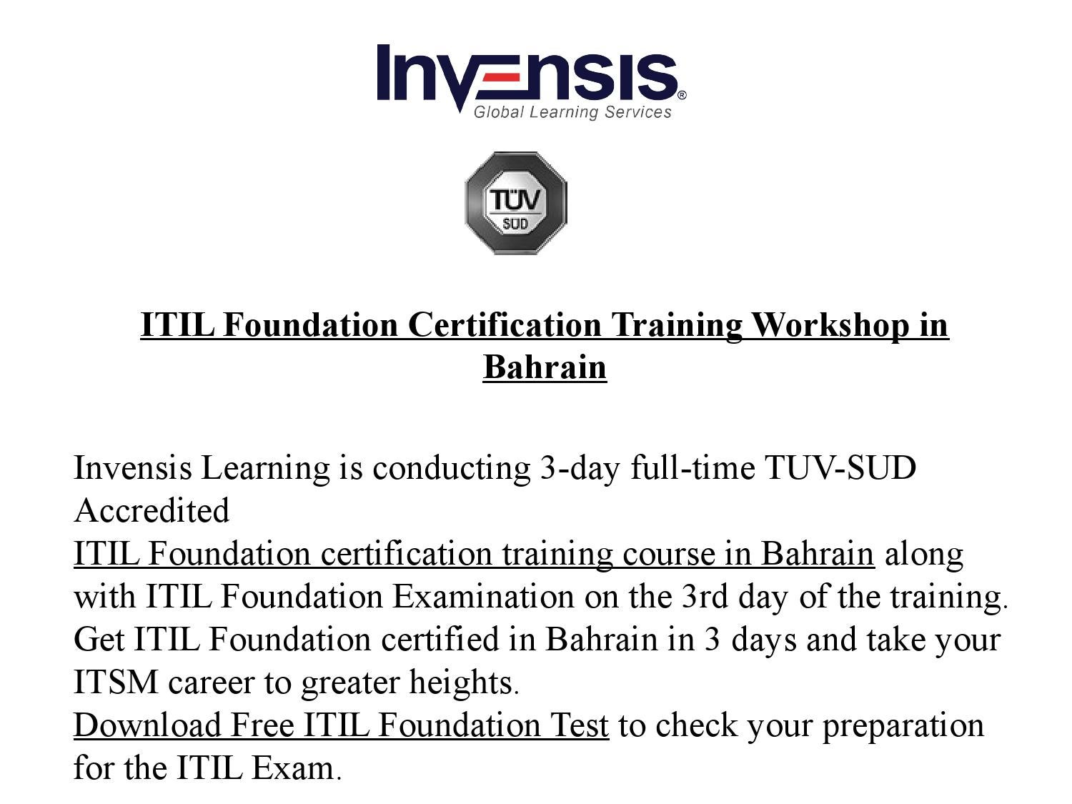 Itil Foundation Certification Training And Examination In Bahrain By