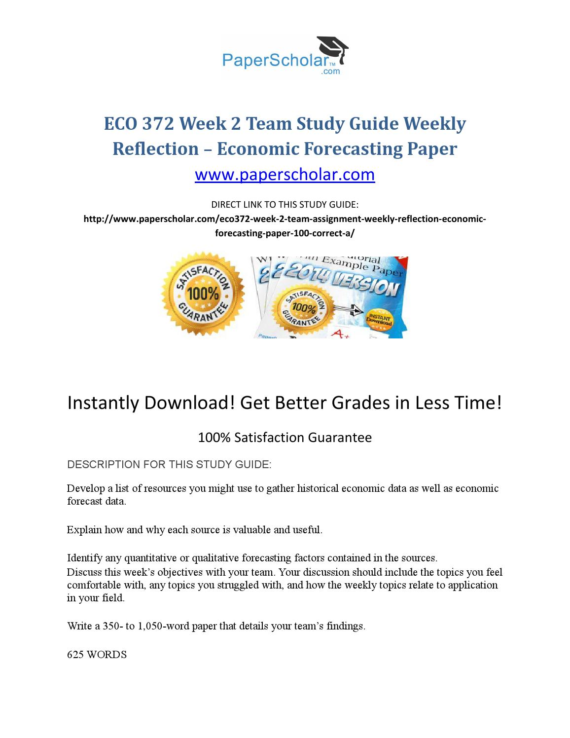 Eco 372 week 2 team study guide weekly reflection – economic forecasting  paper by MAX8 - issuu
