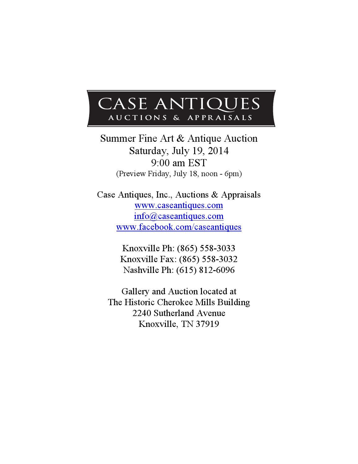 fb3eae35144 July 19 2014 auction catalog 071914 rev4 large by Case Antiques