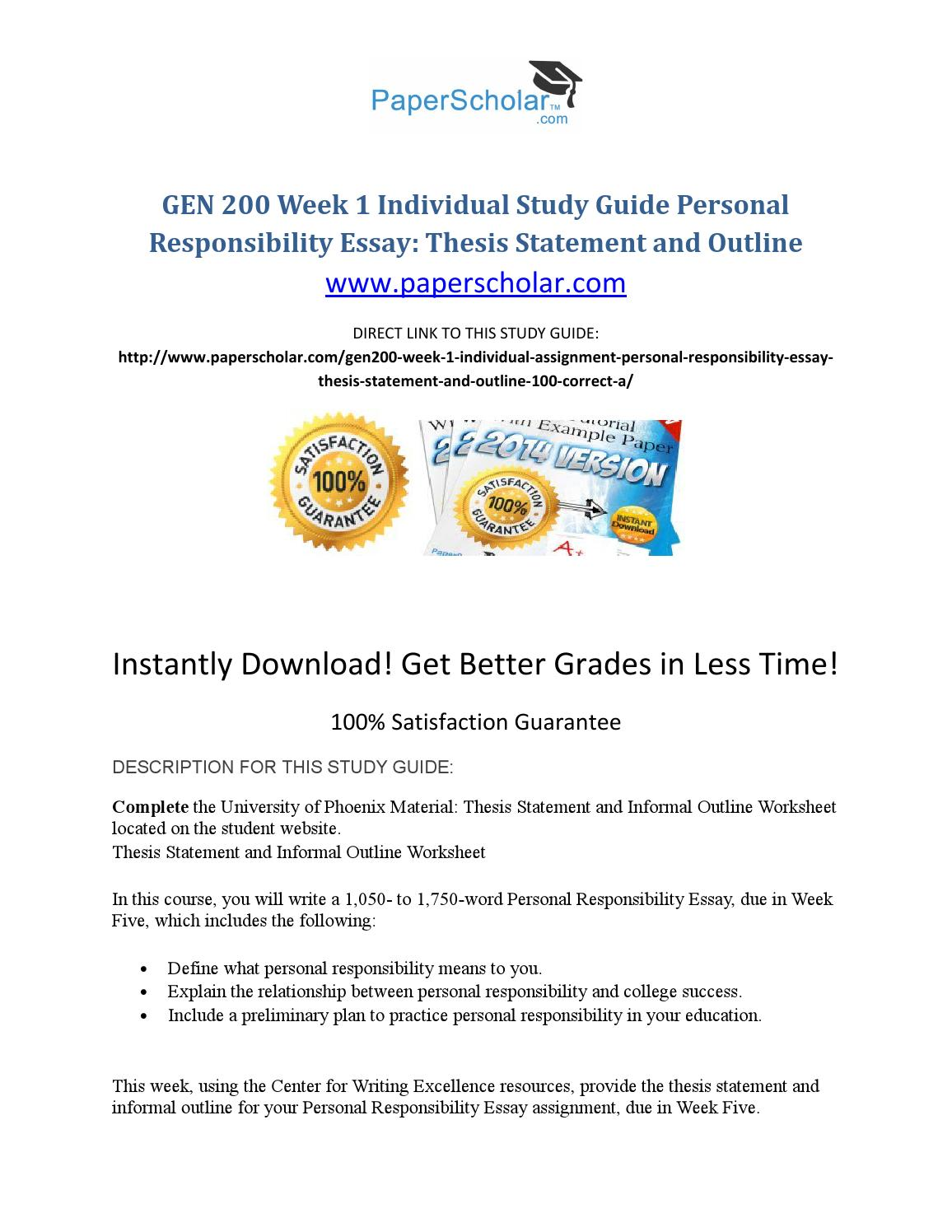 English Learning Essay Gen  Week  Individual Study Guide Personal Responsibility Essay Thesis  Statement And Outline By Jahidmax  Issuu English Reflective Essay Example also English Composition Essay Examples Gen  Week  Individual Study Guide Personal Responsibility Essay  Narrative Essay Example For High School