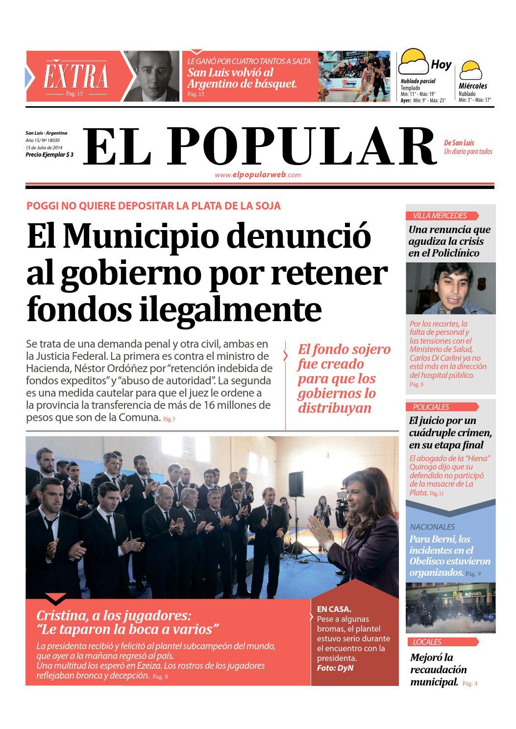El Popular Martes 15 De Julio De 2014 By El Popular De San Luis  # Muebles Doblecinco