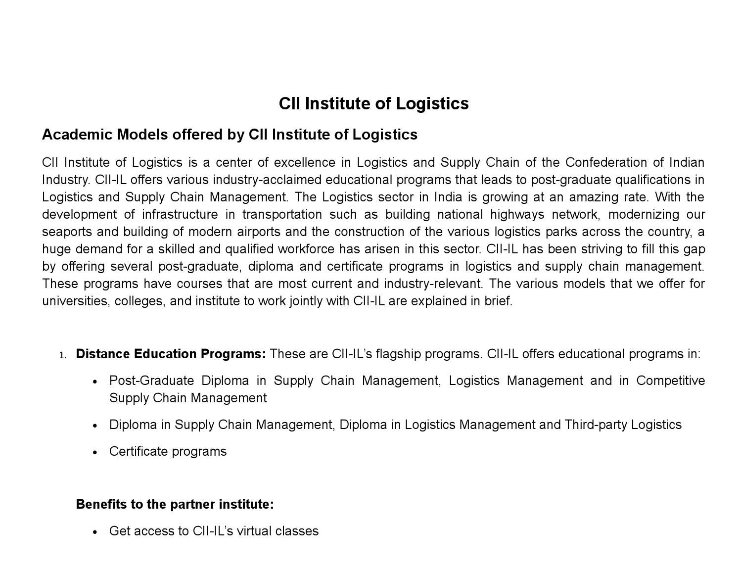 Details About The Academic Models Offered By Cii Institute Of