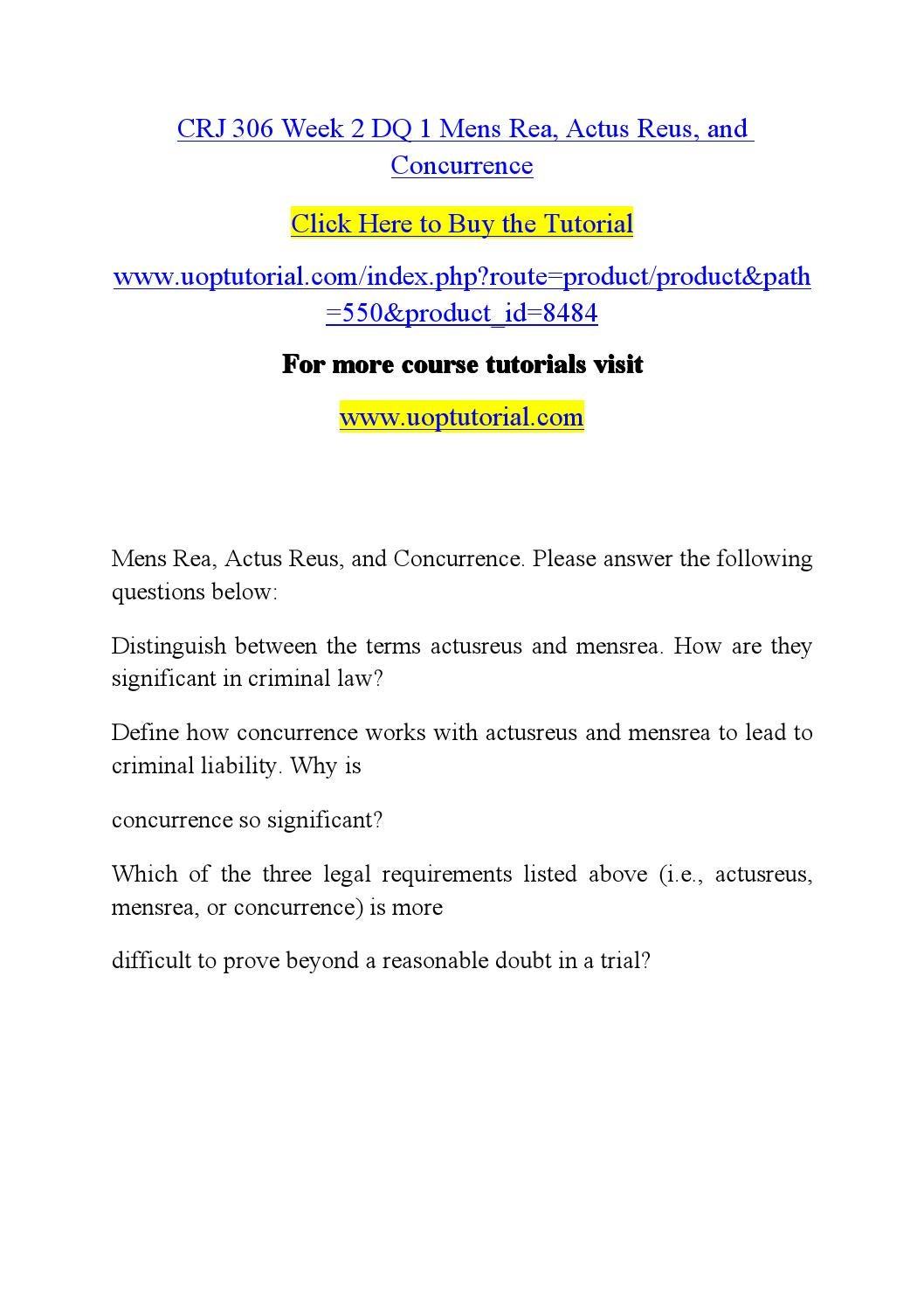 crj 306 week 2 dq 1 Read this essay on crj 306 students guide / tutorialrankcom come browse our large digital warehouse of free sample essays crj 306 week 2 dq 1 mens rea.