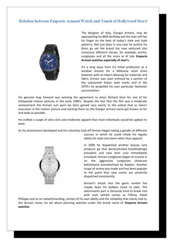 5e581689f895 Relation between Emporio Armani Watch and Touch of Hollywood Stars!