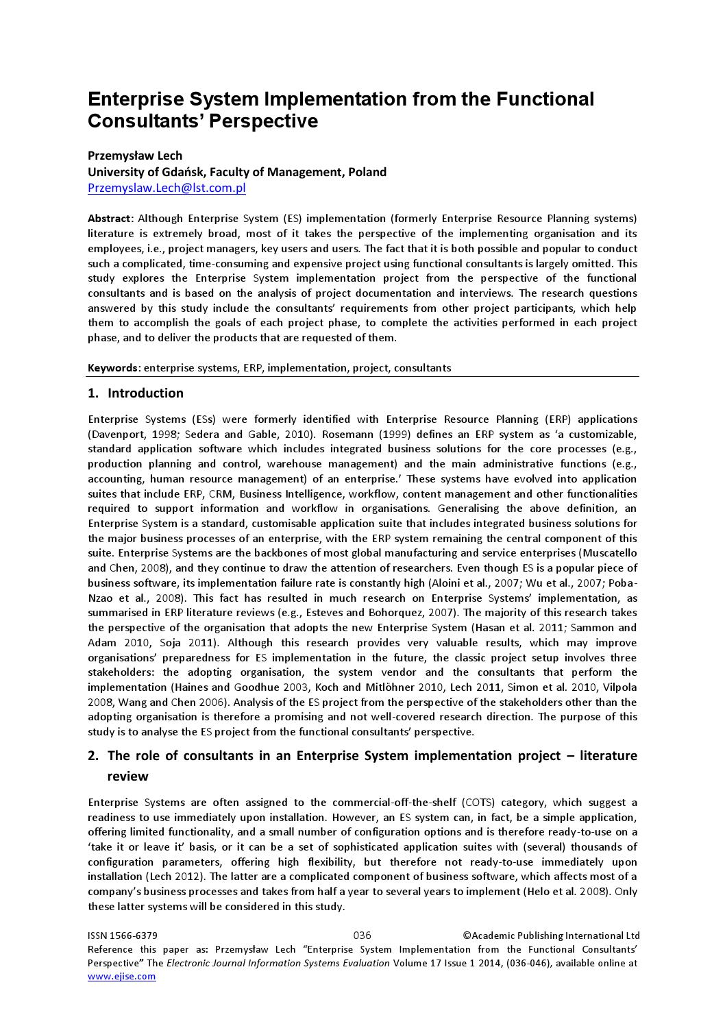 Enterprise system implementation from the functional consultants enterprise system implementation from the functional consultants perspective by academic conferences and publishing international issuu malvernweather Image collections