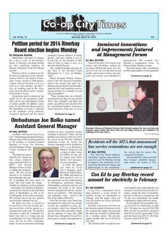 6b2db0b8a77 Co-op City s official newspaper serving the world s largest cooperative  community. © Copyright 2014 Co-op City Times