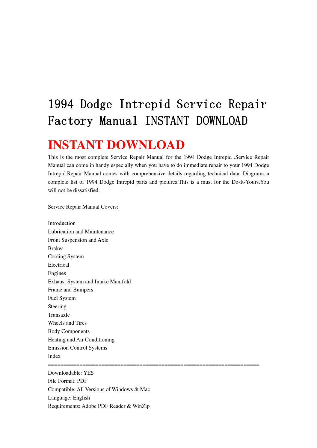 1994 Dodge Intrepid Service Repair Factory Manual Instant