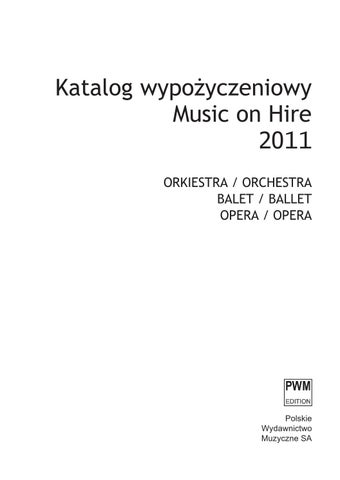 Music On Hire 2011 By Pwm Edition Polskie Wydawnictwo